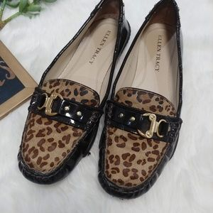 Eleen Tracy Simon leopard print loafer size 7.5